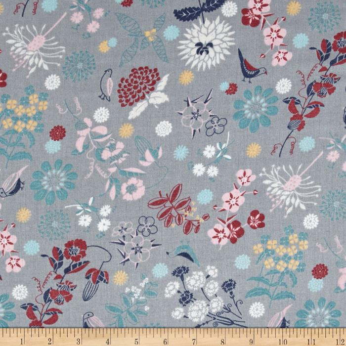 Isso Ecco & Heart Cotton Lawn Botanical Grey