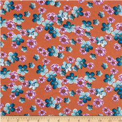 Rayon Challis Floral Orange/Blue/Lilac