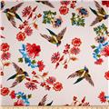 Telio Pebble Satin Crepe Birds and Flowers Pink