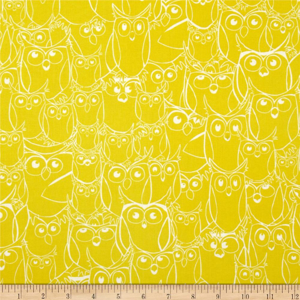 Nite Owls Sketched Owls Yellow