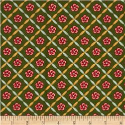 Williamsburg Virginia Floral Lattice Red/Green