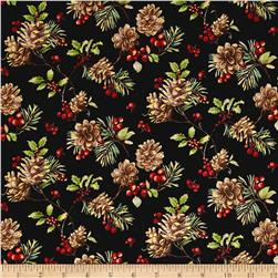 Noel Metallic Pinecones Black