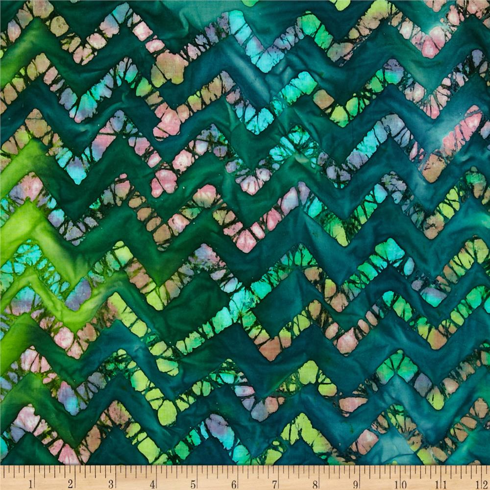 Indian Batiks Chevron Green/Turquoise