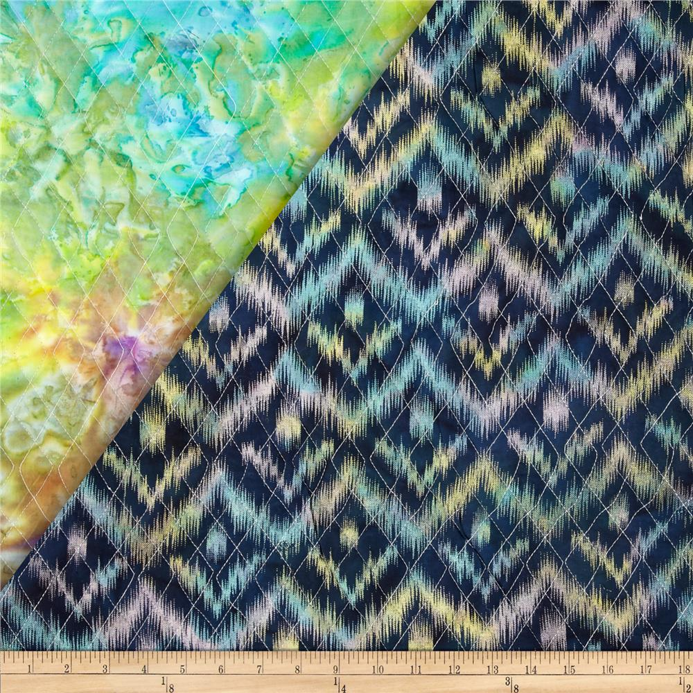 Indian Batik Double Sided Quilted Ikat Navy/Multi