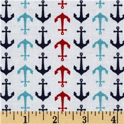 Riley Blake Holiday Banners Anchors White Fabric