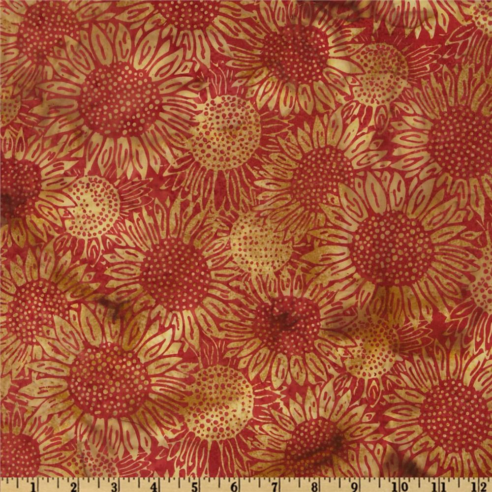 Bali Batik Sunflowers Pomegranate Red