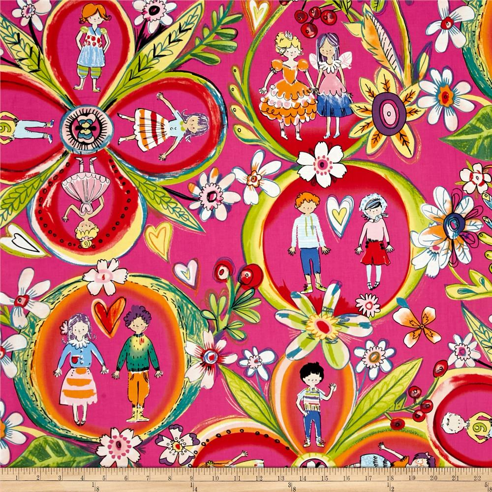Alexander henry monkey 39 s business flower children hot pink for Wholesale childrens fabric