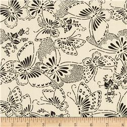 "110"" Wide Quilt Backing Butterfly Cream/Black"