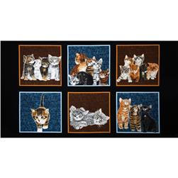 Counting Kittens Cats 24'' PANEL Repeat Black