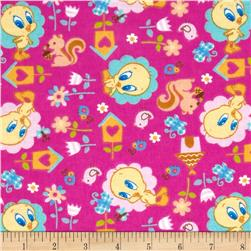 Baby Tweety Flannel Nature Lover Pink Fabric
