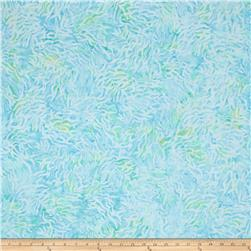 "106"" Wide Wilmington Batik Quilt Back Bamboo Leaves Aqua"