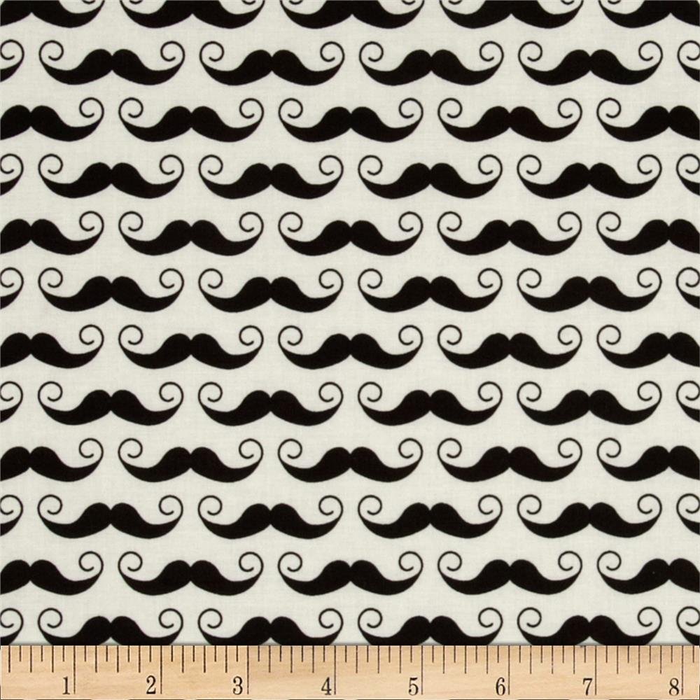 Riley Blake Geekly Chic Mustache Cream