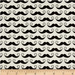 Riley Blake Geekly Chic Mustache Cream Fabric
