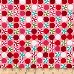 Michael Miller Holiday Santa's Farm Peppermint Dot Pink