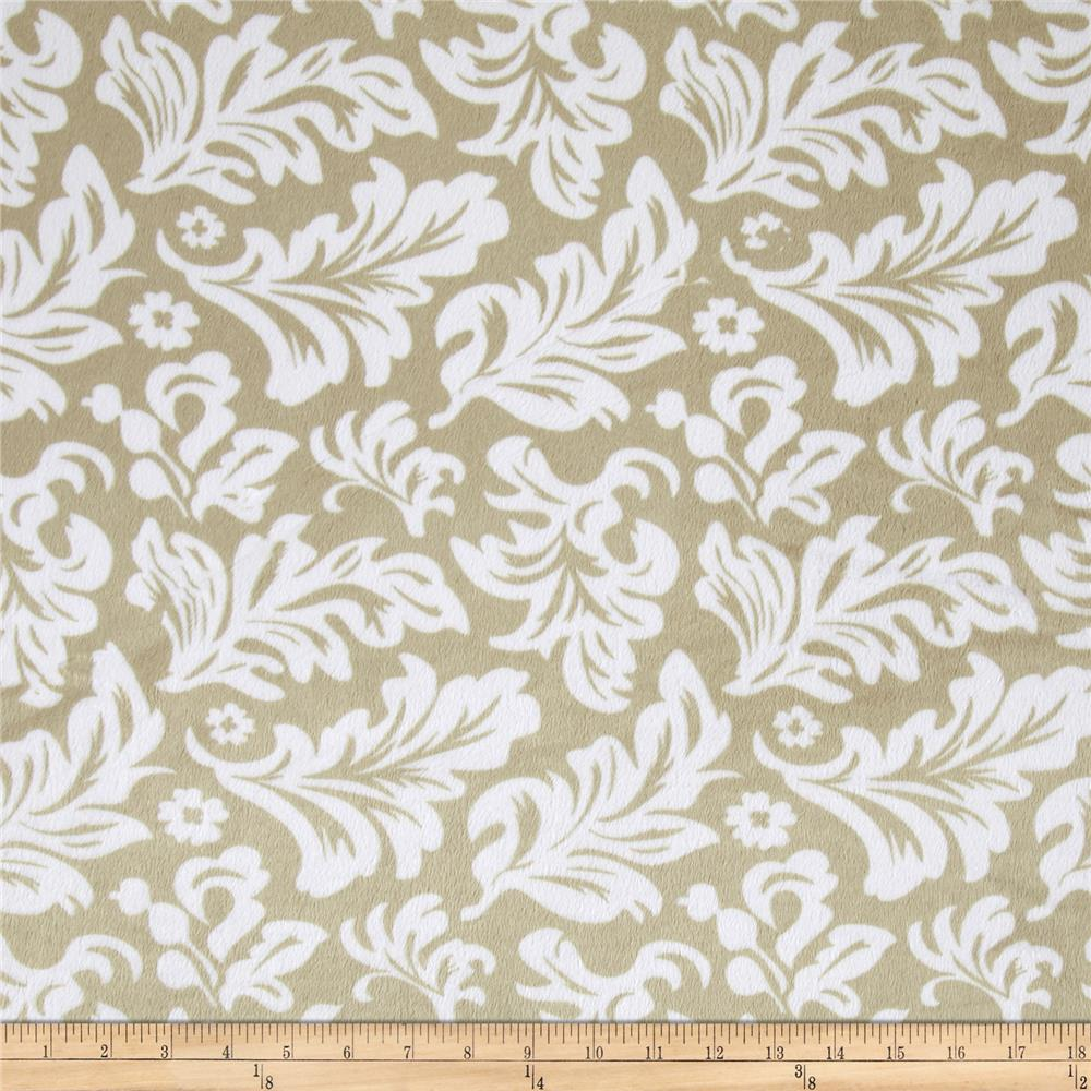 Minky Tossed Leaves Taupe/White