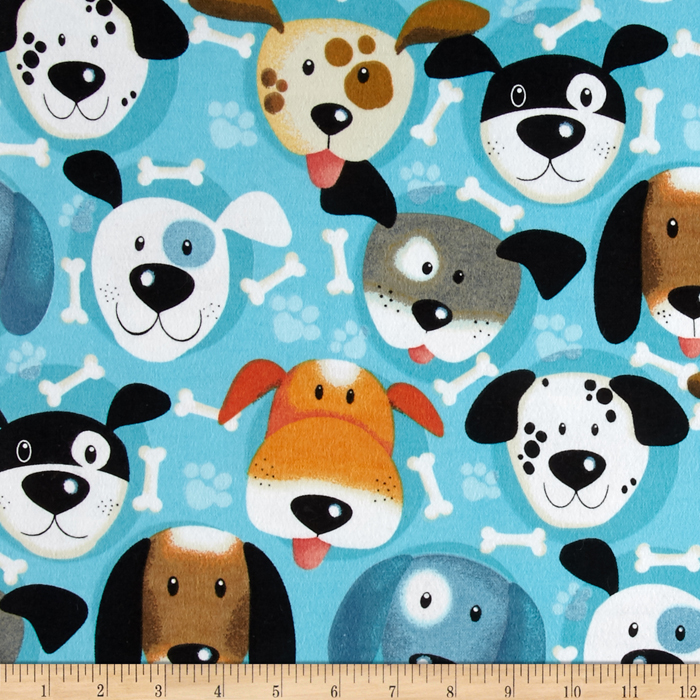 Flannel Dog Faces & Bone Turquoise Fabric