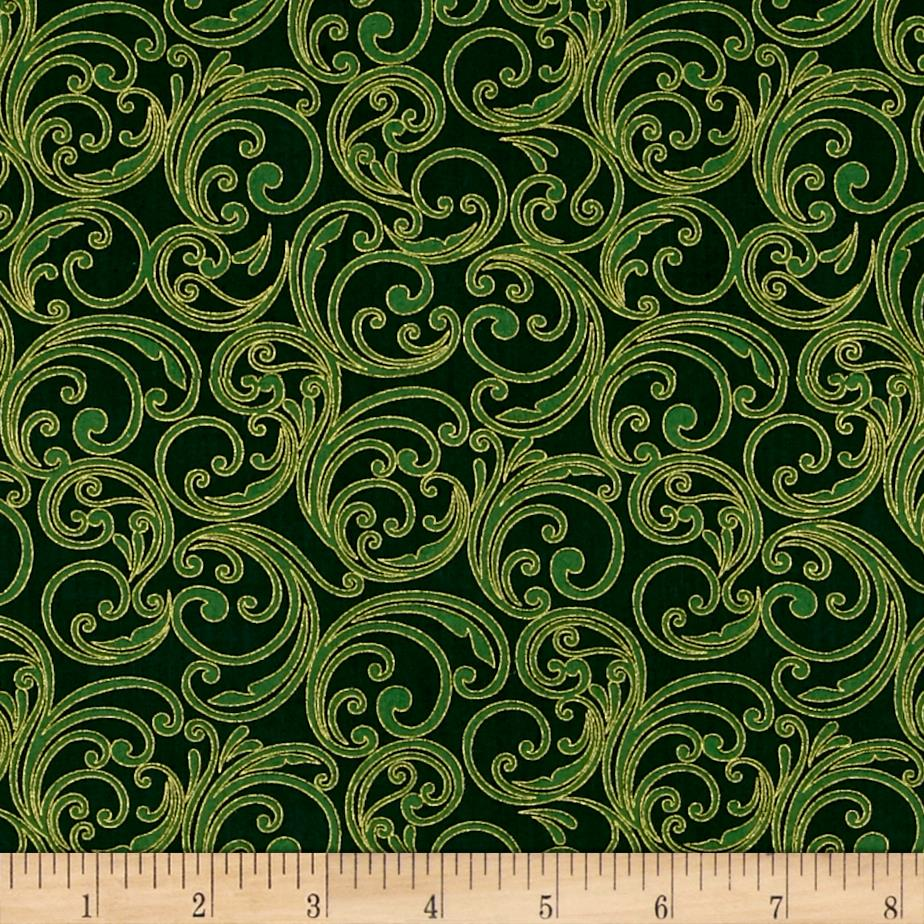 Joyful Metallic Festive Scroll Green