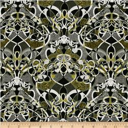 Palindromes Lots of Knots Black/White/Olive Fabric