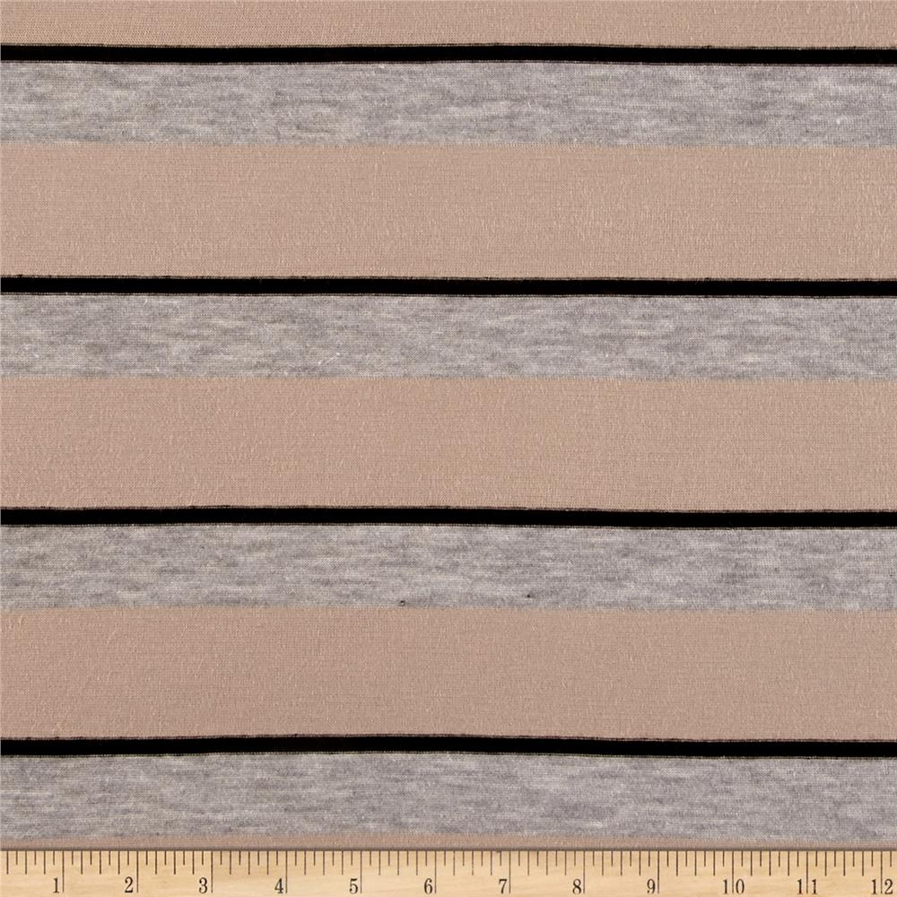Jersey Knit Oversized Tan Stripes Fabric By The Yard