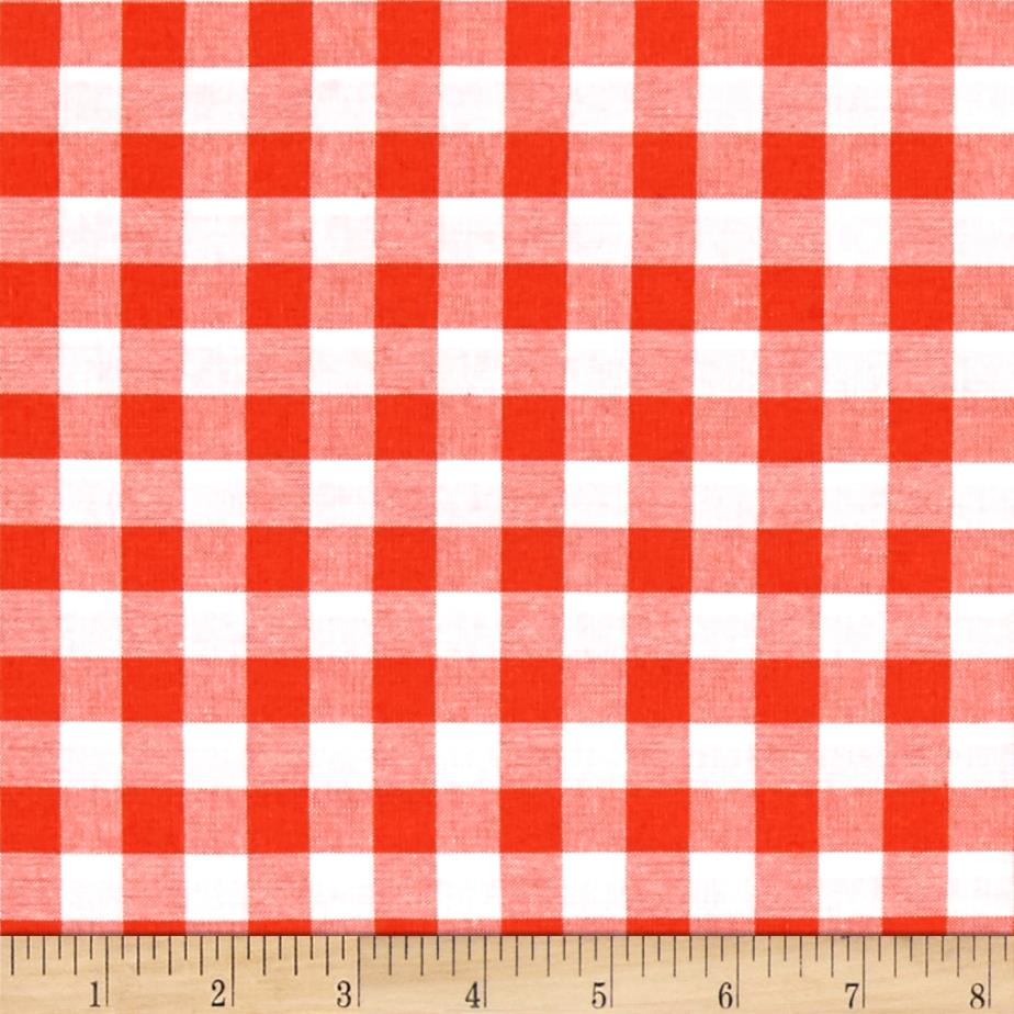 Cotton + Steel Checkers Yarn Dyed Woven 1/2'' Coral Fabric