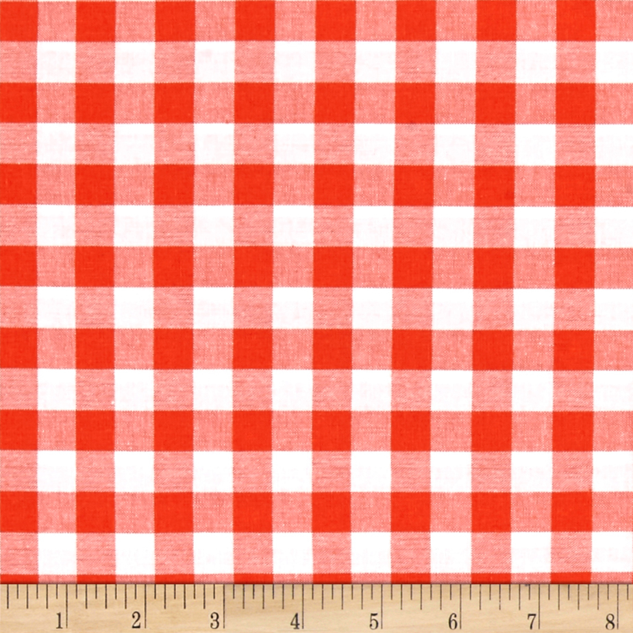 Cotton + Steel Checkers Yarn Dyed Woven 1/2'' Coral Fabric by Cotton & Steel in USA