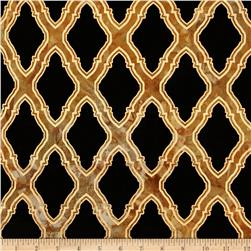 Indian Batik Metallic Honeycomb Black/Orange