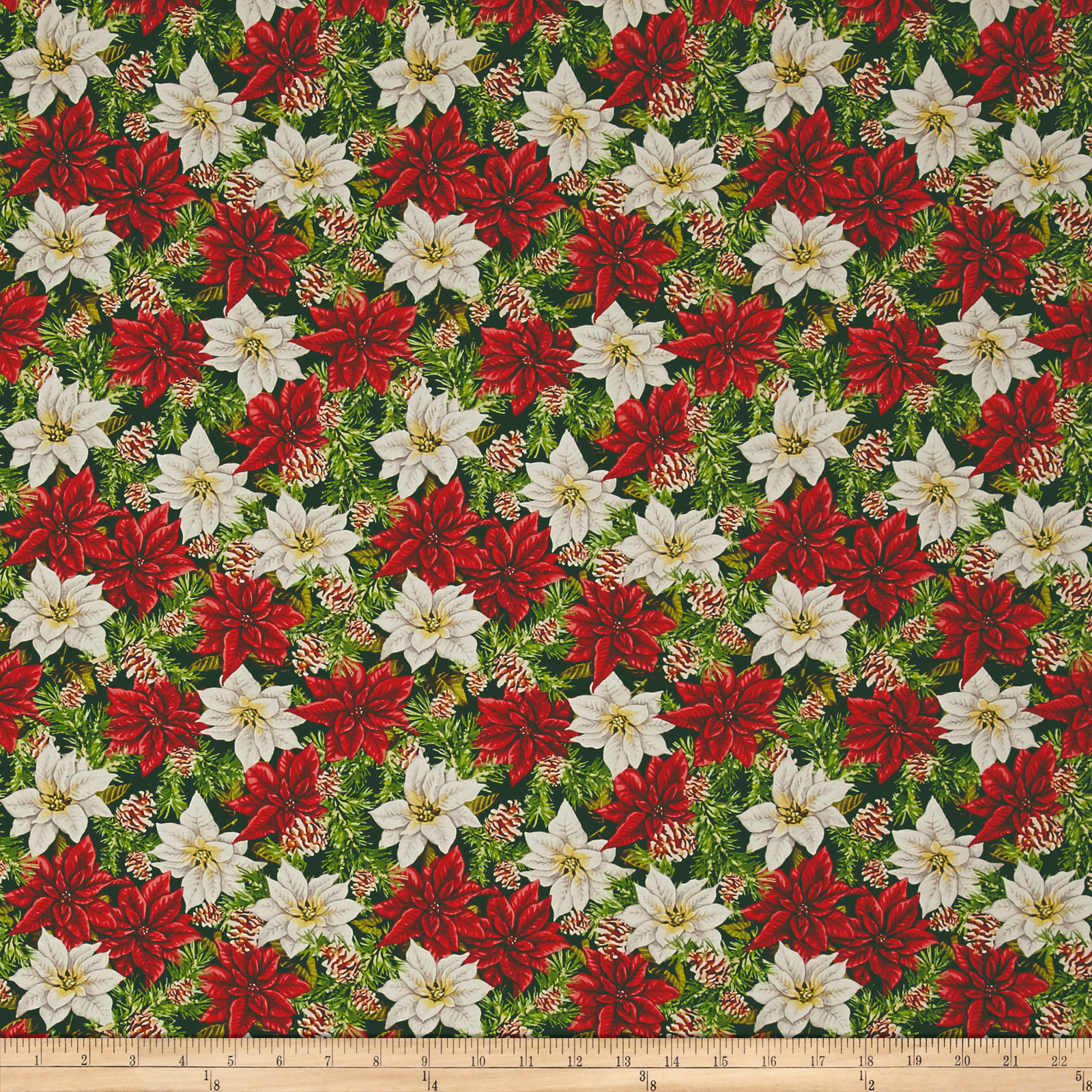 INOpets.com Anything for Pets Parents & Their Pets Anne of Green Gables Poinsettias Green Fabric