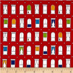 Uptown Windows Bright Red Fabric
