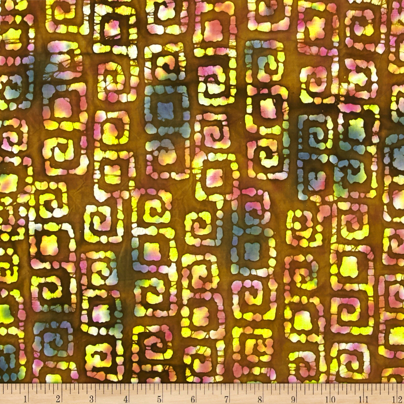 Indian Batik Abstract Squares Brown/Cream Fabric