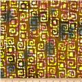 Indian Batik Abstract Squares Brown/Cream