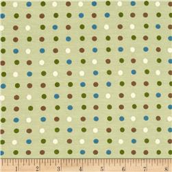 Rayon Jersey Knit Dots Mint/Brown/Blue