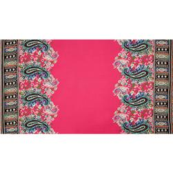 Designer Rayon Shirting Paisley Border Hot Pink/Aqua