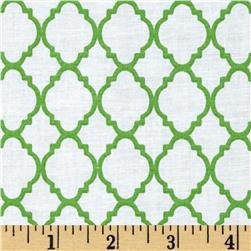 Petit Quatrefoil Lime Green/White