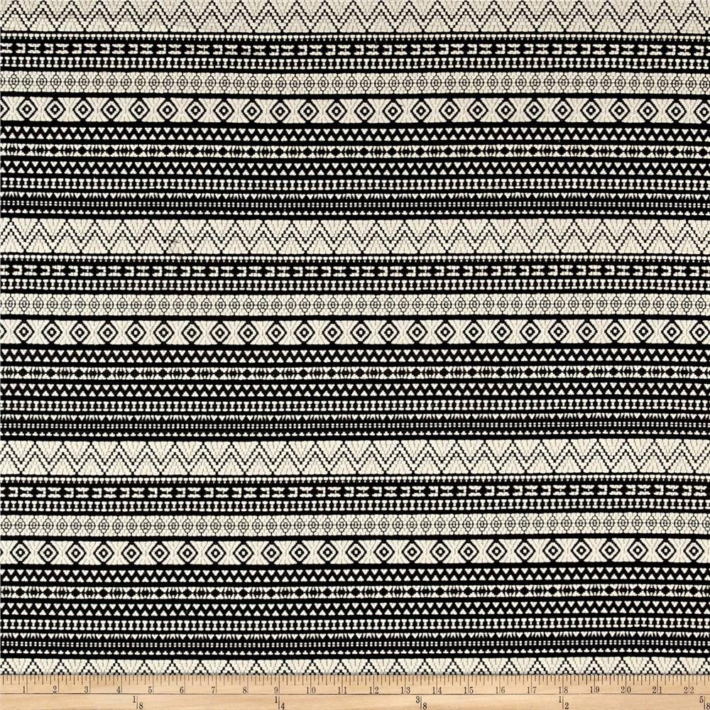 French Designer Jacquard Aztec Black/White
