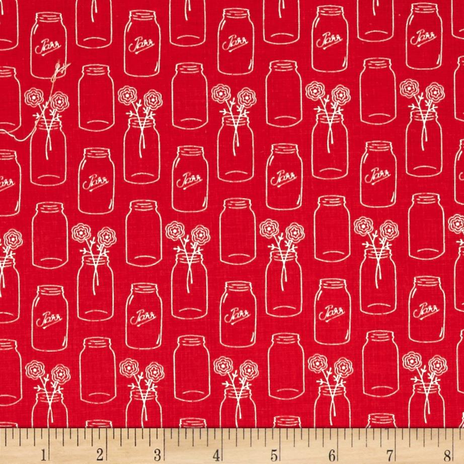 Riley Blake Modern Minis Mason Jars Red
