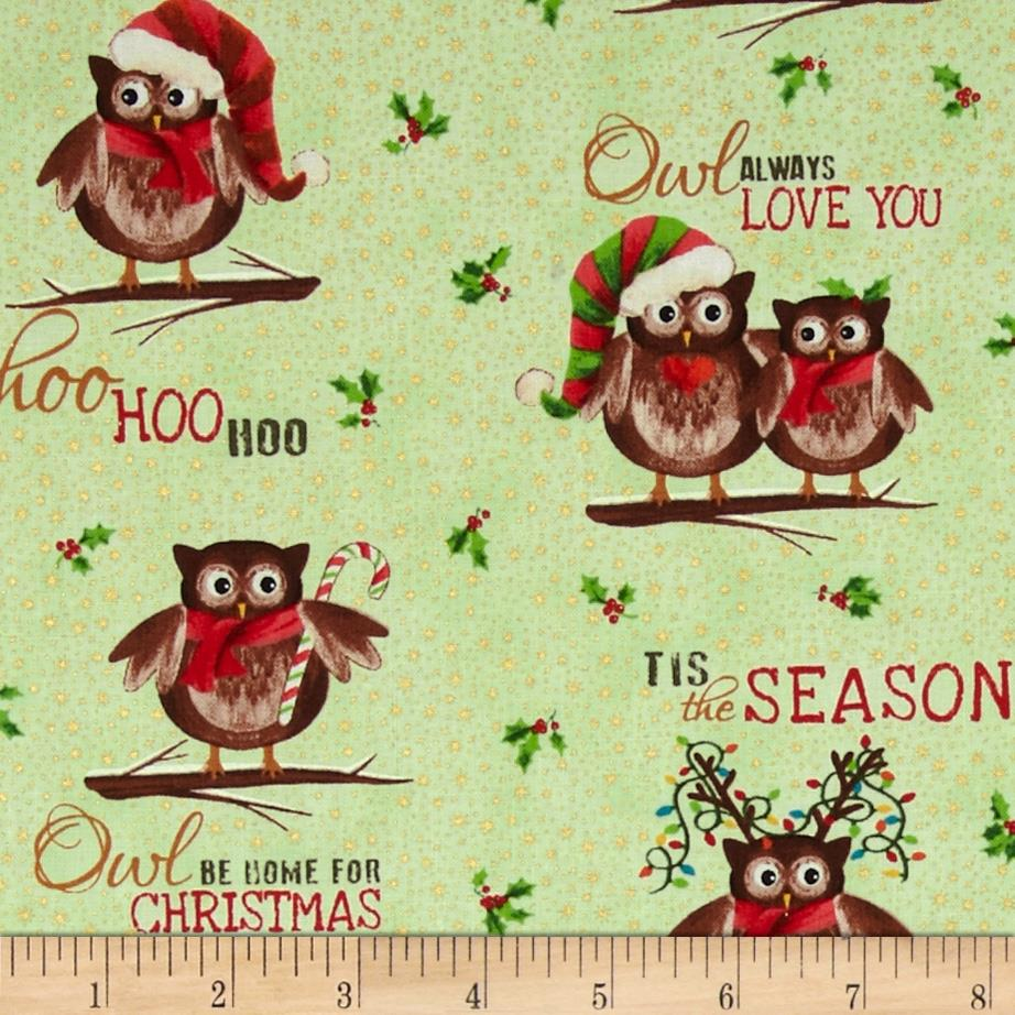 Owl Be Home for Christmas Metallic Allover Owls Lime