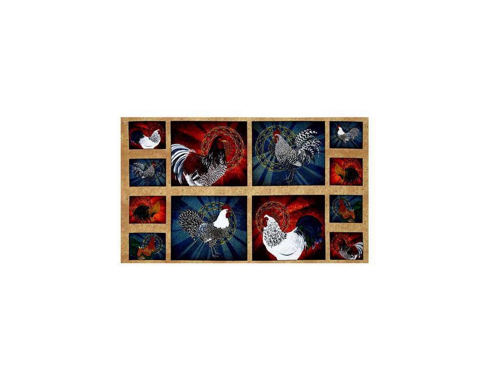 Rise & Shine Rooster Patches 24 In. Panel Multi Fabric By The Yard