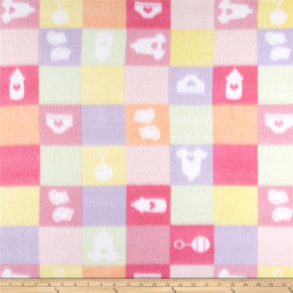 Fleece Print Baby Checkers Pink