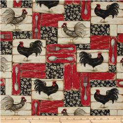 Mia Country Flock Digital Print Rooster Patch Red