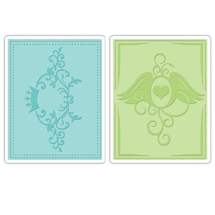 Sizzix Textured Impressions Embossing Folders 2 Pack-Crown Flourish & Heart Wings Set