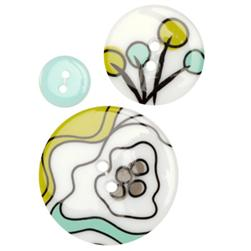 Fashion Buttons 1/2'', 1.00'', 1 3/8'' Coordinates Abstract Floral Aqua/Lime/White