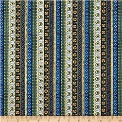 Timeless Treasures Exotic Metallic Ornate Stripe Multi