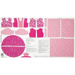 "Let's Play Dolls - Let's Pretend Princess 24"" Panel Hot Pink"