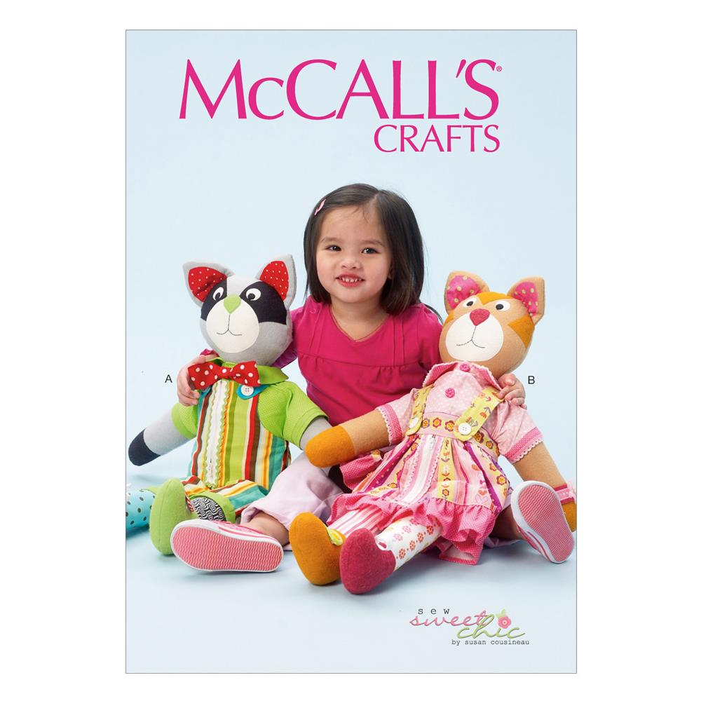 """McCall's """"Learn To"""" Cat and Raccoon Pattern M6980 Size OSZ"""