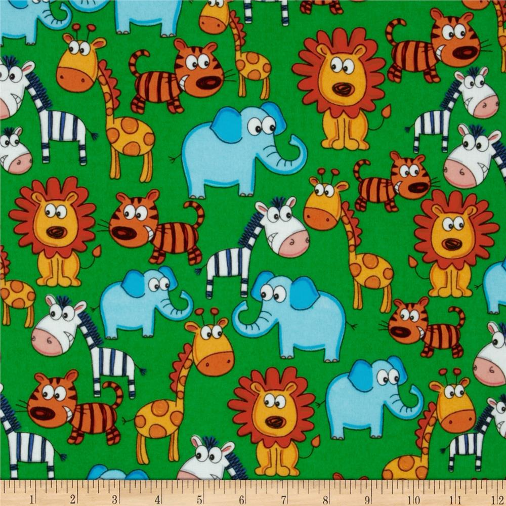 Flannel Zoo Animals Multi