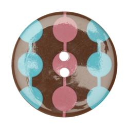 Fashion Button 1-3/8'' Confetti Circles Brown