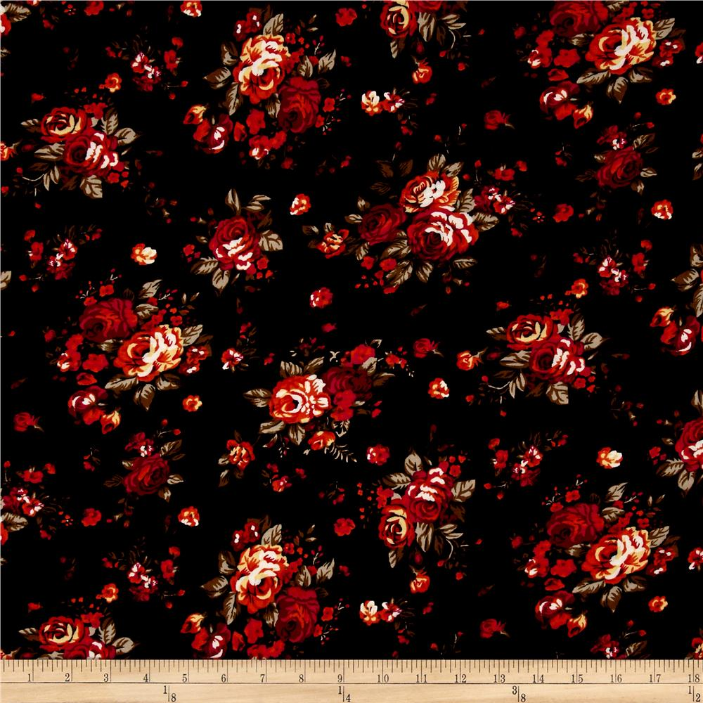 Rayon challis floral red black discount designer fabric for Bargain wallpaper