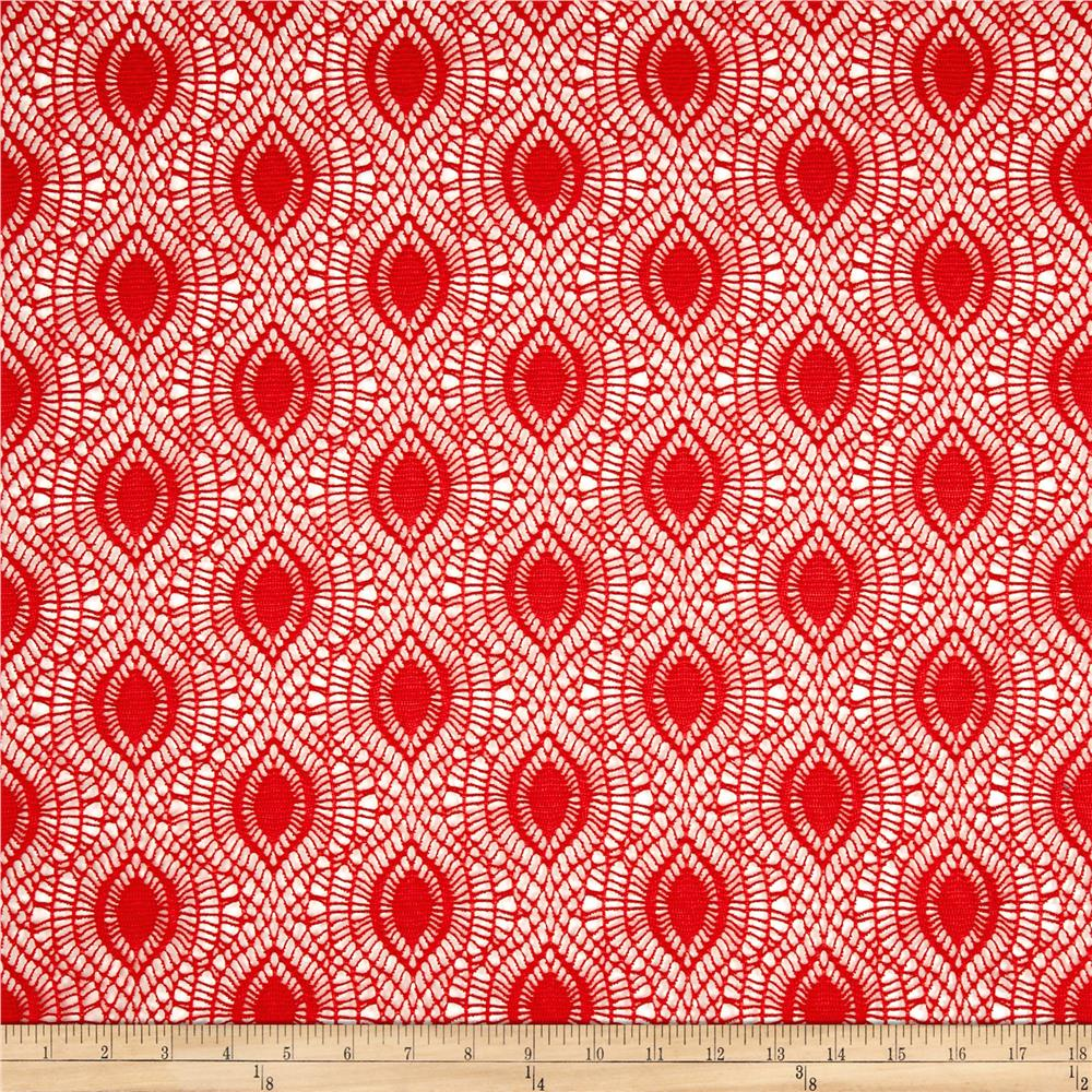 Crochet Lace Abstract Oval Orange Fabric