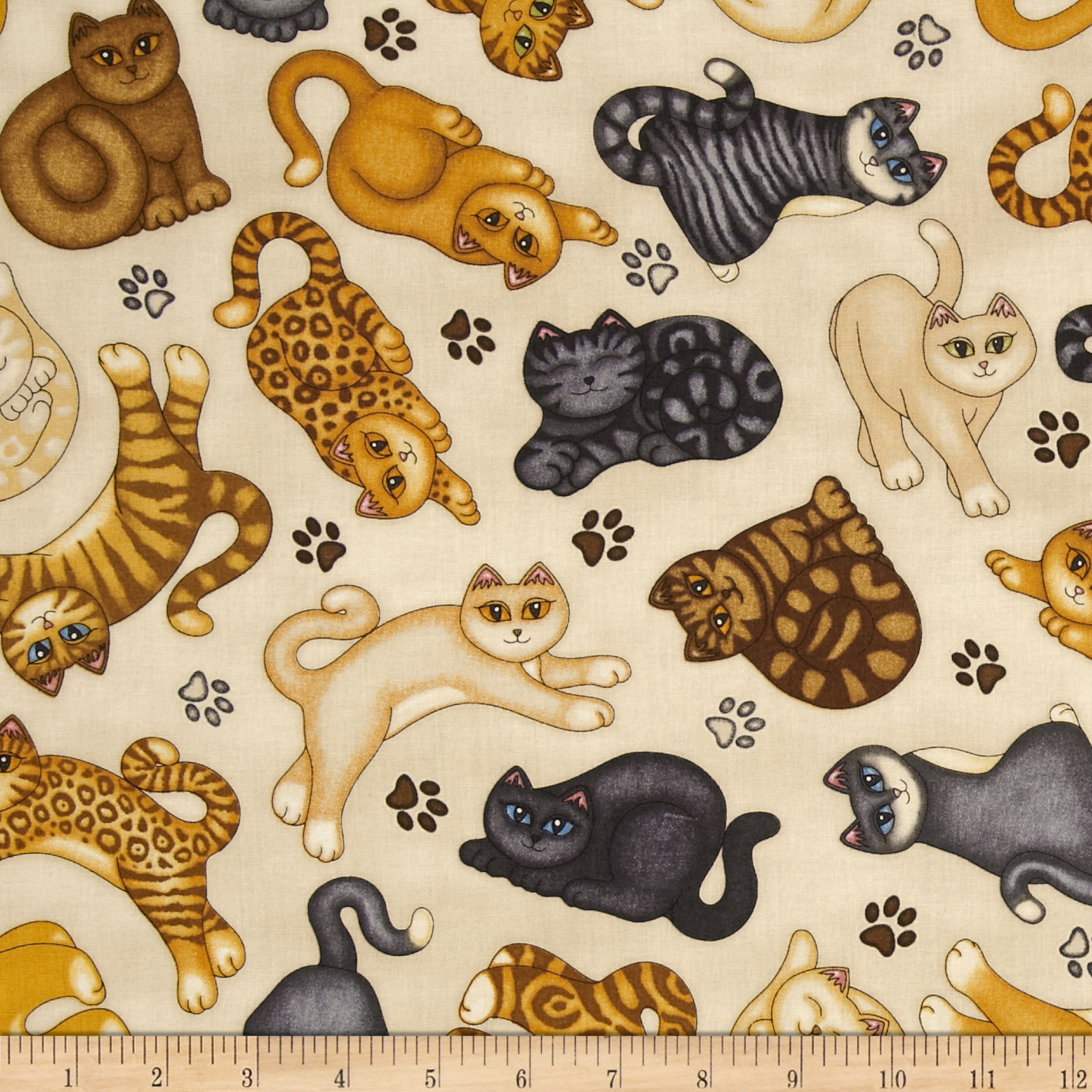 Wildcats Cat Tossed Cream Fabric