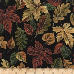 Timeless Treasures Cabin Rules Autumn Leaves Black